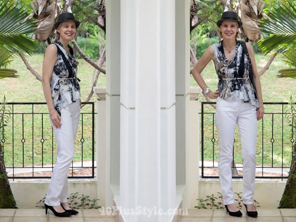 black and white outfit with comfortable pumps | 40plusstyle.com