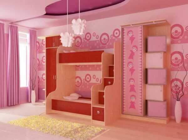 Детская мебель для девочки кровать двухярусная ДМ12