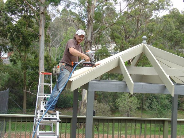 Outdoor gazebo platform at a good height for roofing