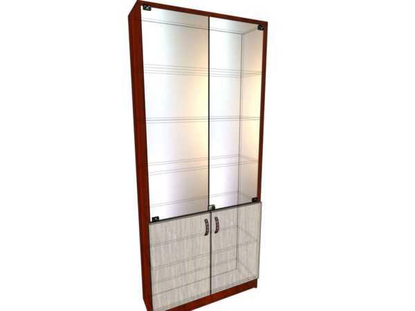 Стеллаж из ЛДСП 6 полок с дверьми лдсп и стекло 900*300*2100 мм