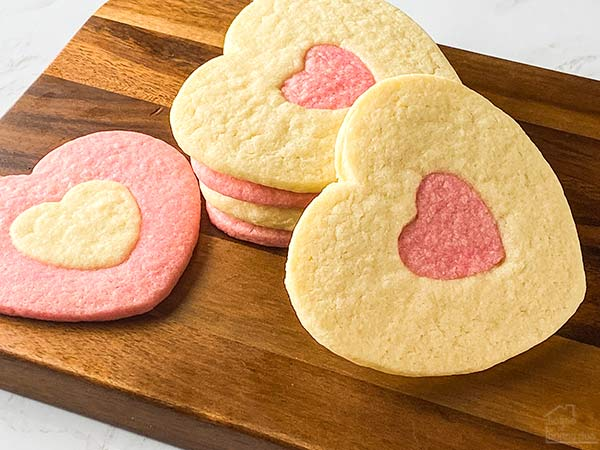 two-toned cookies on a cutting board