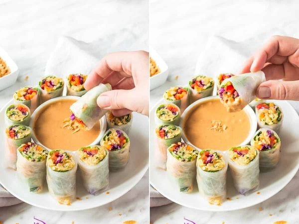 Dipping Summer Rolls in Sauce