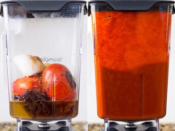 Adobo Sauce before and after blending