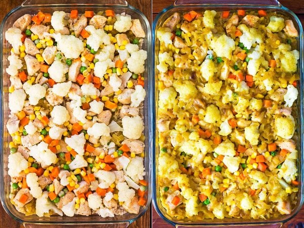 Assembled chicken rice vegetable casserole before and after baking
