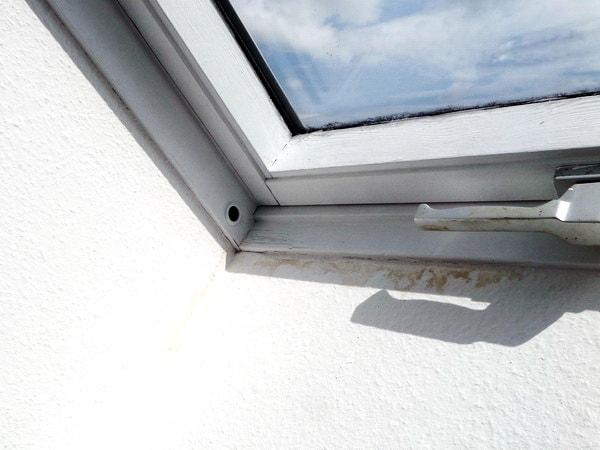 Maengelanzeige vor Abnahme Baumangel vor oder nach Abnahmealtes Dachfenster mit Schimmel