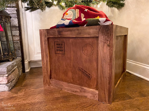 Shipping crate stand with stamps