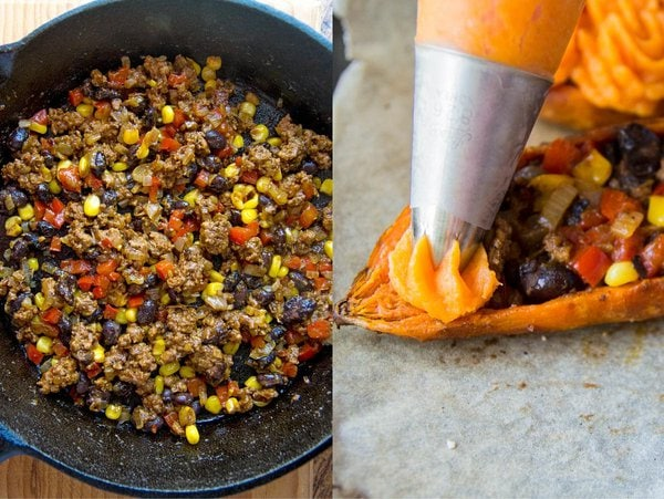 Ground beef stuffing with sweet potato mash piping bag