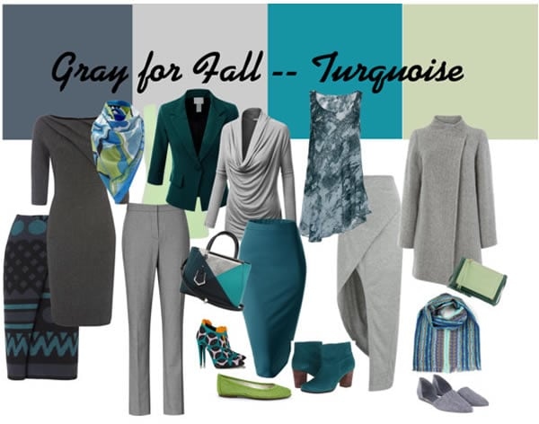 Ideas for wearing gray - mixing it with turquoise and green | 40plusstyle.com