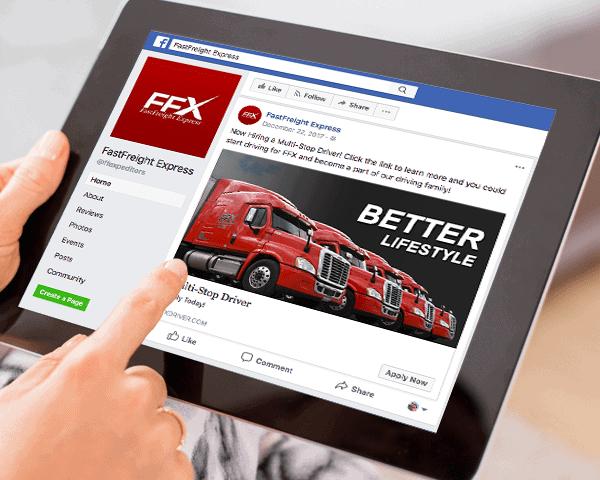 FFX Facebook ads displayed on tablet