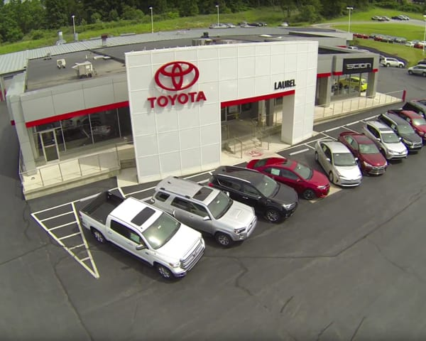 Overhead View of the Laurel Toyota Car Dealership building