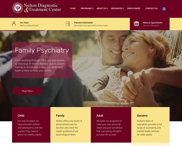 Screenshot of Nulton Diagnostic & Treatment Center website