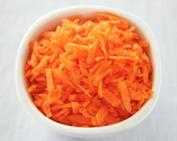 Bowl of Shredded Carrot