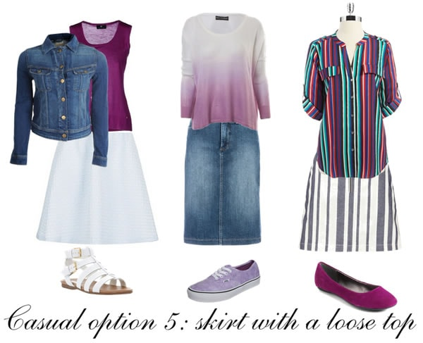Casual outfit formula 5: skirt with a loose top | 40plusstyle.com