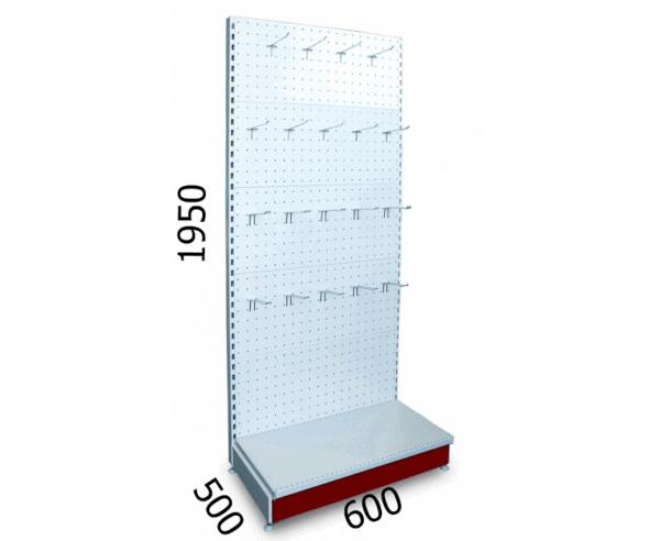 Стеллаж перфорированный 600х500х1950мм для магазина