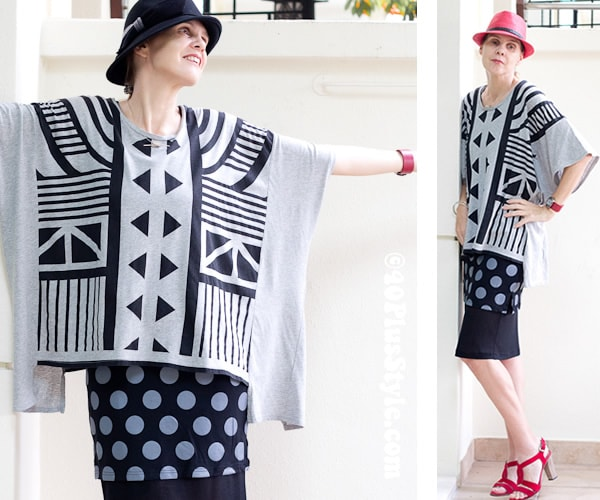 Black versus white, pattern mixing with polkadots | 40plusstyle.com
