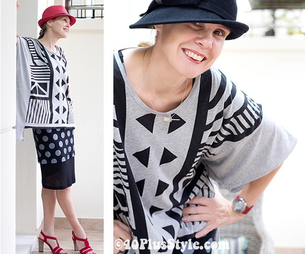 pattern mixing and playing with red and black hats in white, black and red | 40plusstyle.com