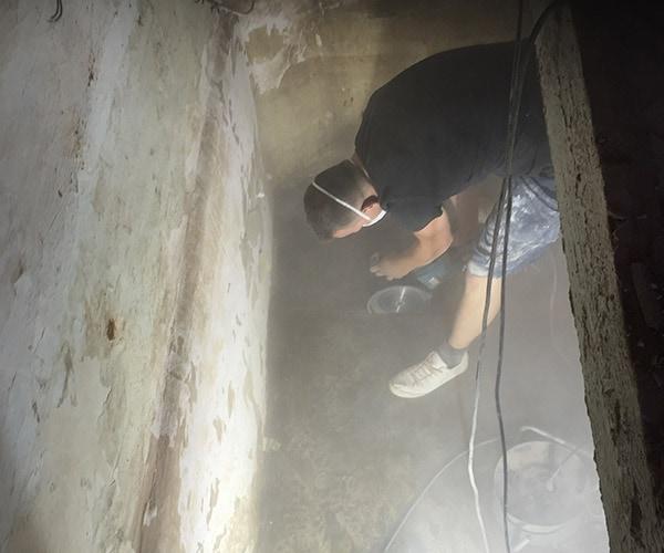 Kelderdichting dmv vloerdrainage systeem te Aalst, Herdersem 6
