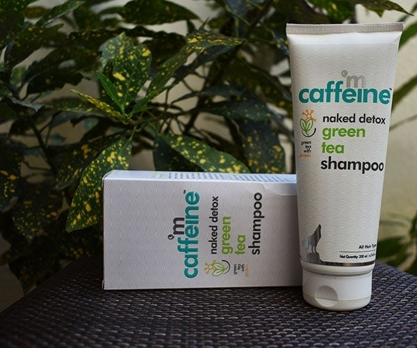 mCaffeine naked detox green tea shampoo packaging is functional while being classy at the same time
