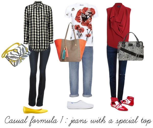 Casual outfit formula 1 - jeans with a special top | 40plusstyle.com