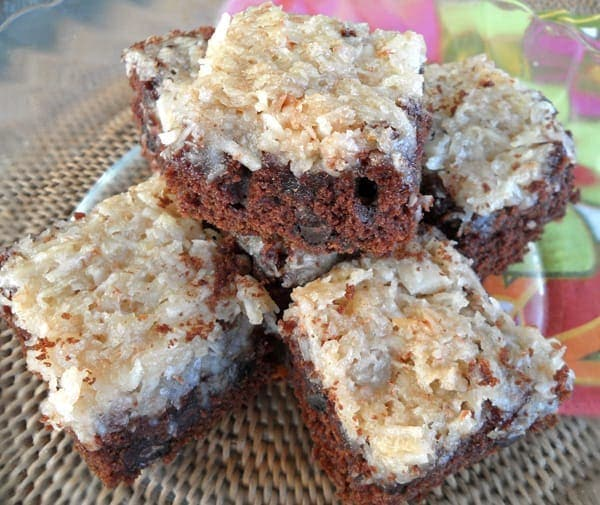 Stack of Coconut Macaroon Brownies
