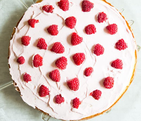 Cake Layer with Raspberries