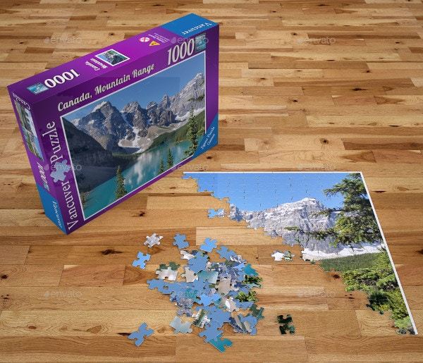 Jigsaw Puzzle and Box Mock-Up