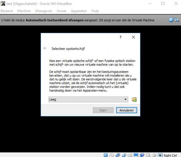 Na het opstarten van je virtuele computer zal Virtualbox om een opstartschijf vragen.