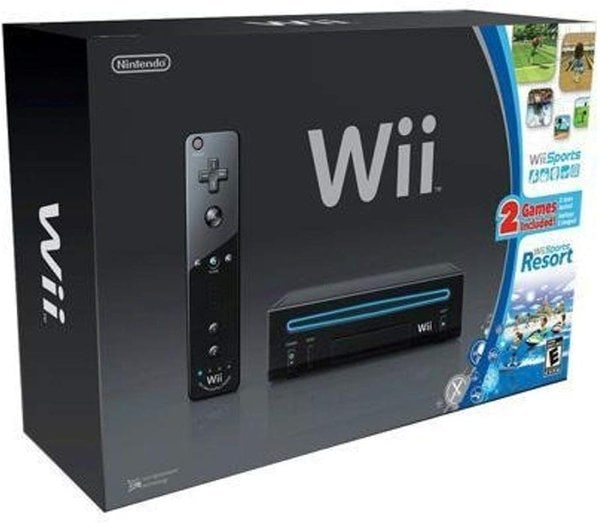 Nintendo Wii Black with Wii Sports and Wii Sports Resort