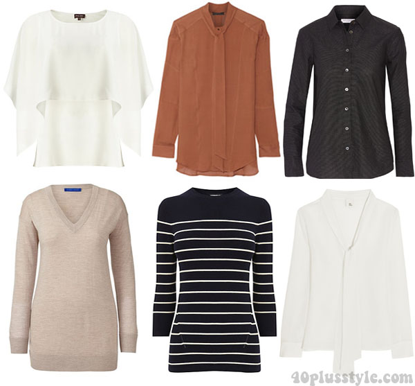 A capsule wardrobe for fall featuring tan shades: tops and sweaters ideas | 40plusstyle.com