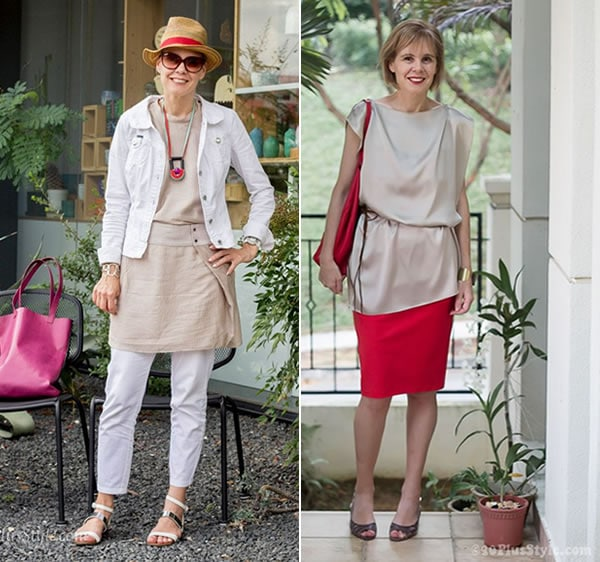 wearing pastels in style | combine with brighter accessories | 40PlusStyle.com