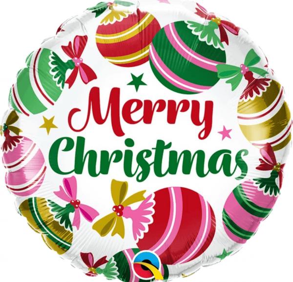 """Ballon rond écriture """"Merry Christmas"""" boule de noël rose et verte."""