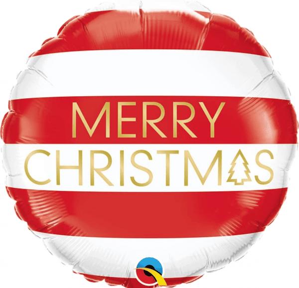 """Ballon rond rouge et blanc écriture """"Merry Christmas"""" dorée."""