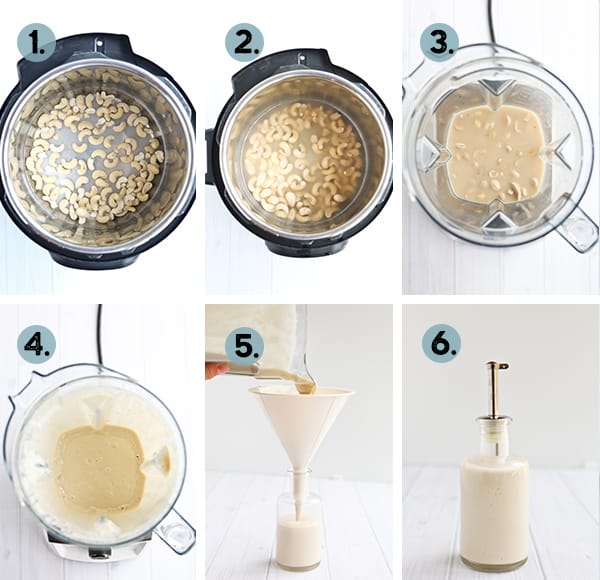 Step by step collage of how to make cashew cream