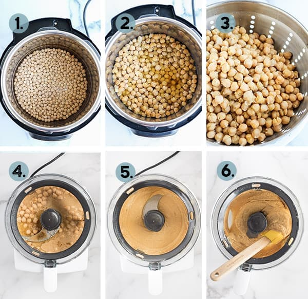 step by step collage of how to make hummus in the Instant Pot