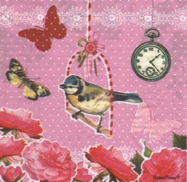 Serviette papier Oiseau et papillon