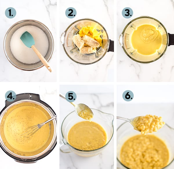 step by step collage of how to make instant pot tapioca
