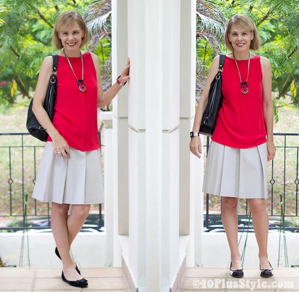 Red silk top, grey a skirt