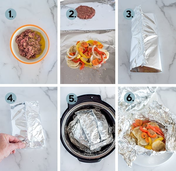 step by step collage of how to make tinfoil diinners in the Instant Pot pressure cooker