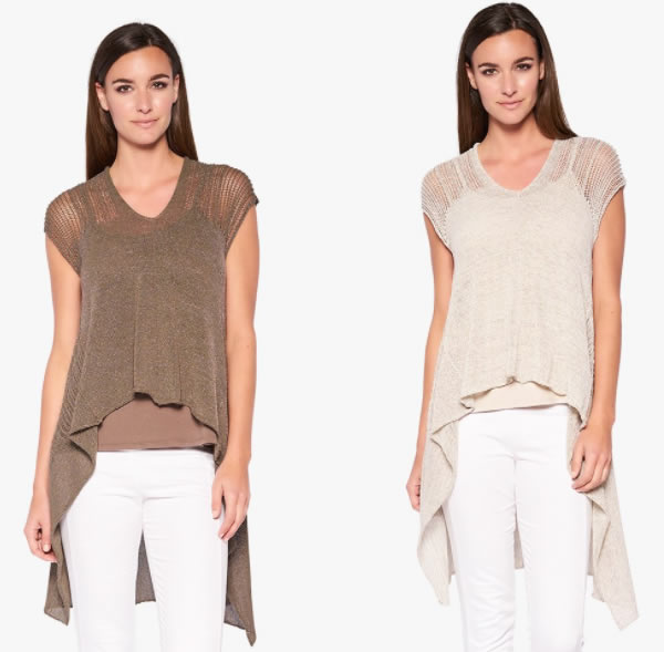 Long asymmetrical knitted top | 40plusstyle.com