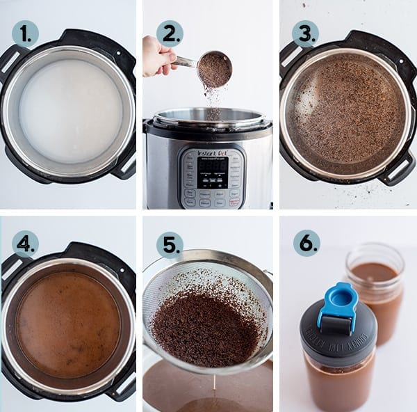 step by step collage of how to make crio bru in the instant pot