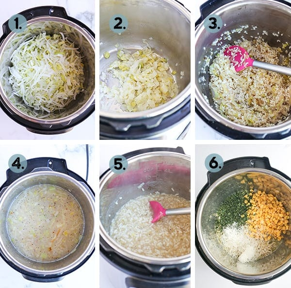 step by step collage of how to make corn risotto in the instant pot