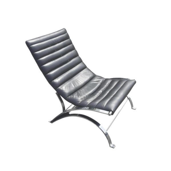 Fauteuil Lounge Cuir t Chrome Style Norell, 1970s