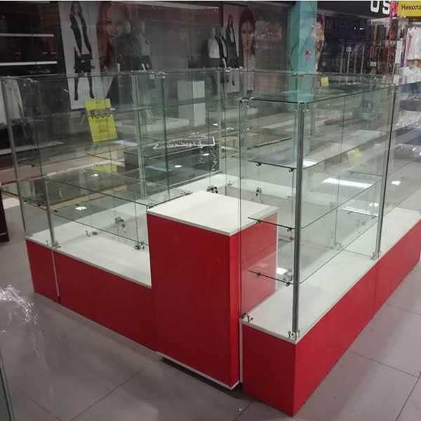 Купить островные торговые отделы из стекла, алюминия, ЛДСП