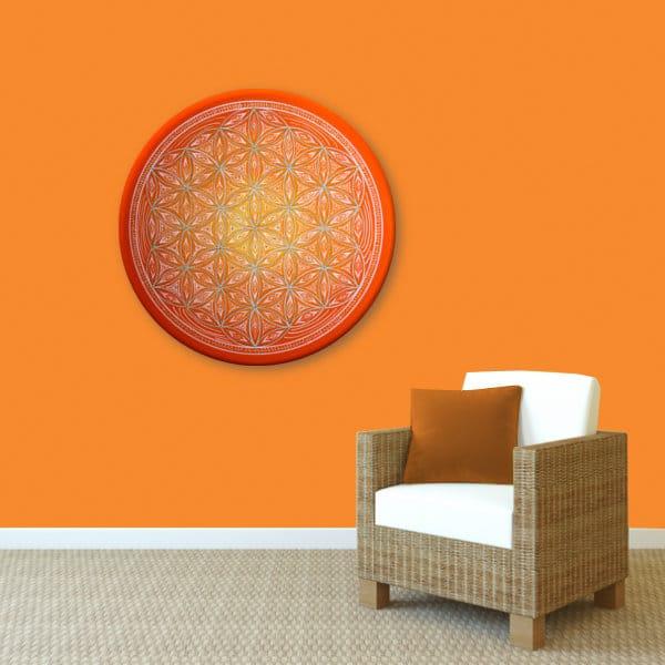 Wandbild Energiebild Blume des Lebens white spirit_orange