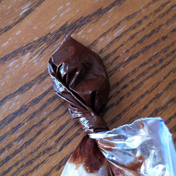 Sandwich Bag with Melted Chocolate