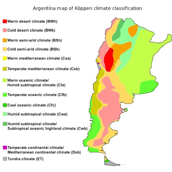 A color-coded map of Argentina outlining the 13 climate zones of the country