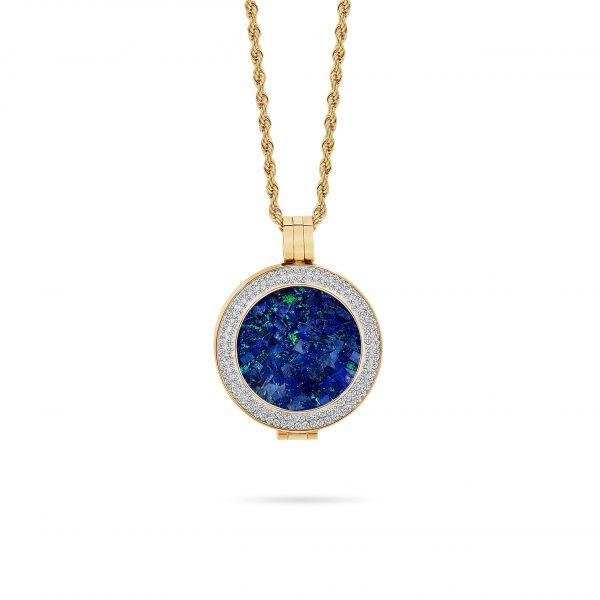 Bijou • Yellow Gold Plated Sky Opal Locket