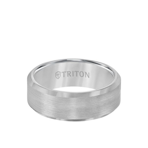 8MM Tungsten Carbide Ring - Satin Finish Center and Bevel Edge 11-2320-8