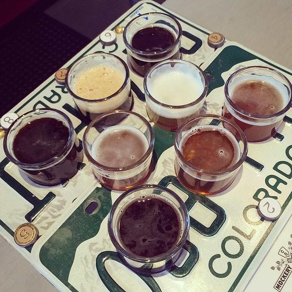 The sampler flight at Mockery Brewing, Denver CO   BottleMakesThree.com