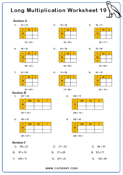 Long Multiplication Worksheet 3